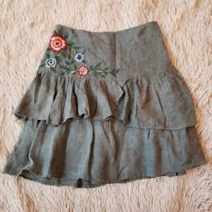 Zara Basic Tiered Floral Skirt Ruffle Boho